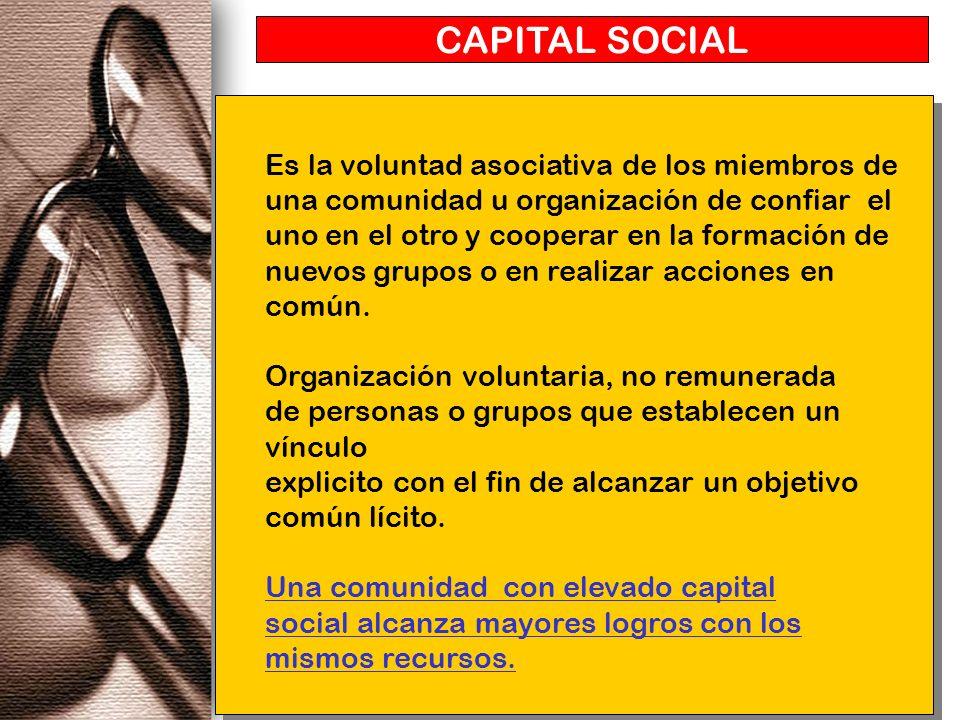 CAPITAL SOCIAL Es la voluntad asociativa de los miembros de una comunidad u organización de confiar el uno en el otro y cooperar en la formación de nu