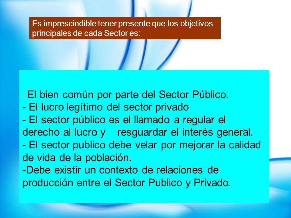 - El bien común por parte del Sector Público. - El lucro legítimo del sector privado - El sector público es el llamado a regular el derecho al lucro y