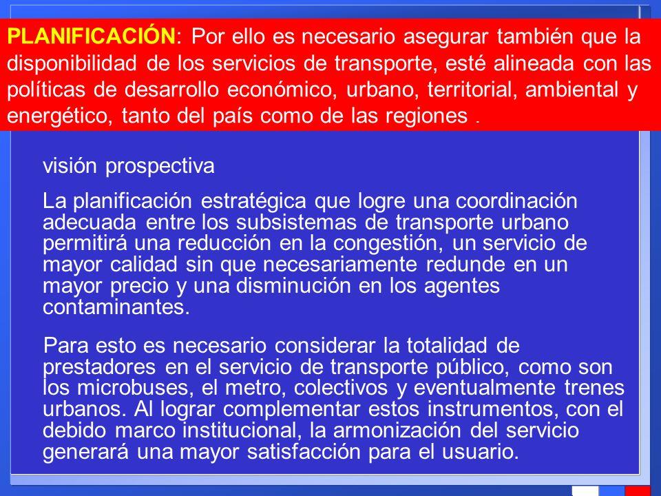 visión prospectiva La planificación estratégica que logre una coordinación adecuada entre los subsistemas de transporte urbano permitirá una reducción