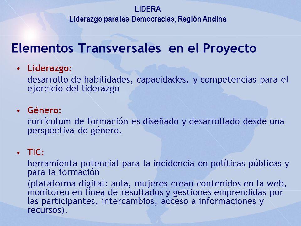 Elementos Transversales en el Proyecto Liderazgo: desarrollo de habilidades, capacidades, y competencias para el ejercicio del liderazgo Género: currículum de formación es diseñado y desarrollado desde una perspectiva de género.