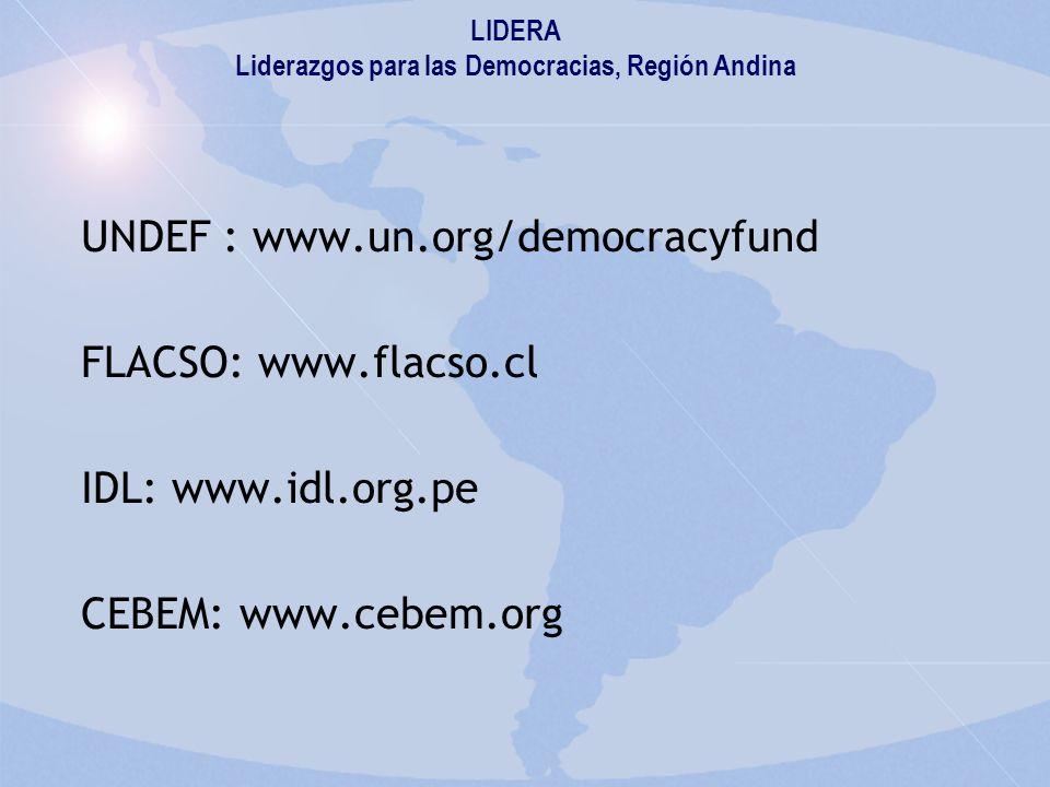 UNDEF : www.un.org/democracyfund FLACSO: www.flacso.cl IDL: www.idl.org.pe CEBEM: www.cebem.org LIDERA Liderazgos para las Democracias, Región Andina