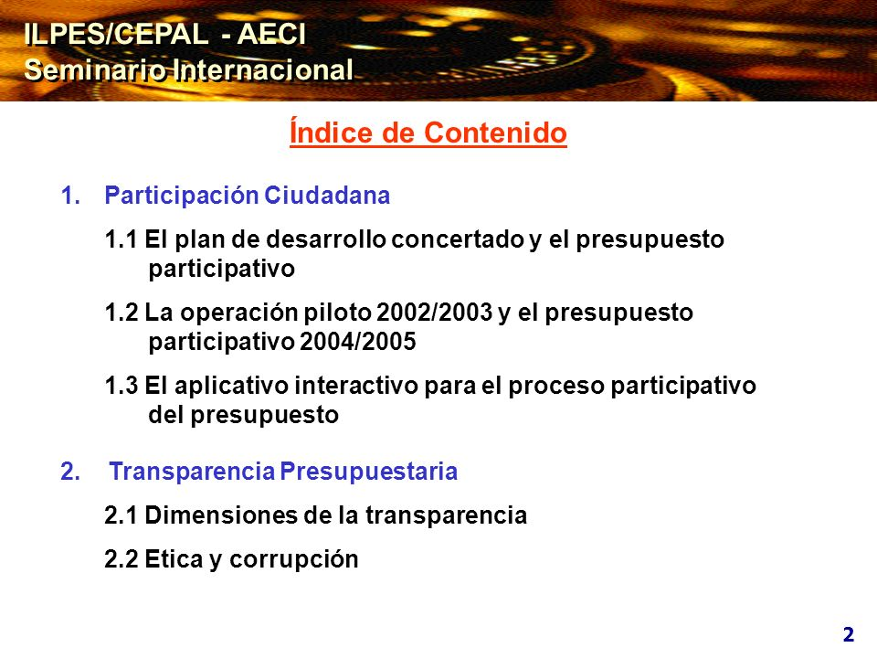 1.1 EL PLAN DE DESARROLLO CONCERTADO Y EL PRESUPUESTO PARTICIPATIVO 1.1 EL PLAN DE DESARROLLO CONCERTADO Y EL PRESUPUESTO PARTICIPATIVO 3 DIPLOMA DE GESTIÓN PÚBLICA Gestión Económica y Financiera Gubernamental DIPLOMA DE GESTIÓN PÚBLICA Gestión Económica y Financiera Gubernamental