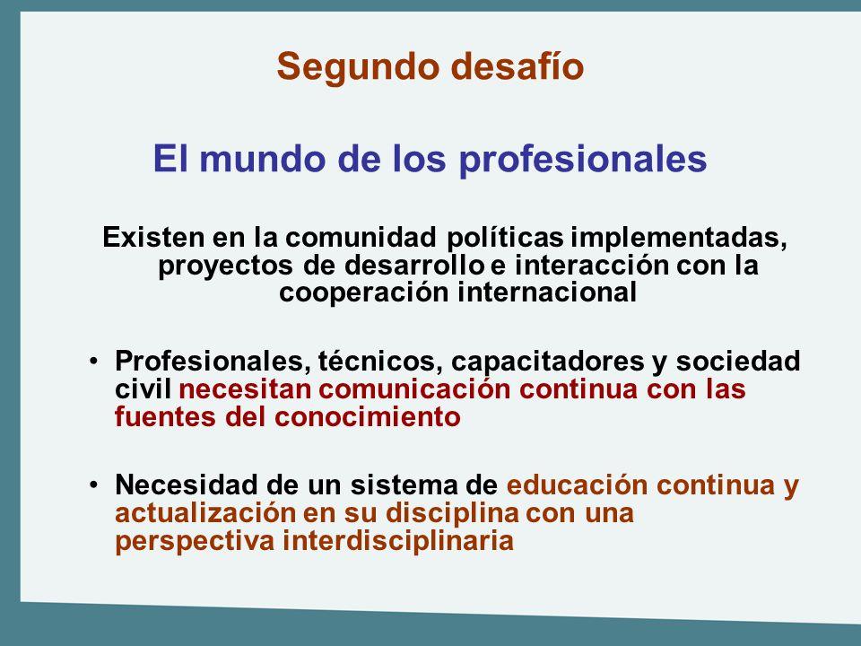 Segundo desafío El mundo de los profesionales Existen en la comunidad políticas implementadas, proyectos de desarrollo e interacción con la cooperació