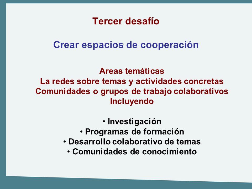 Tercer desafío Crear espacios de cooperación Areas temáticas La redes sobre temas y actividades concretas Comunidades o grupos de trabajo colaborativo