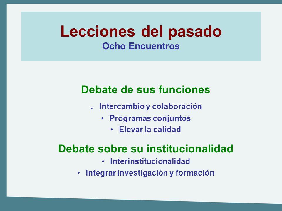 Lecciones del pasado Ocho Encuentros Debate de sus funciones. Intercambio y colaboración Programas conjuntos Elevar la calidad Debate sobre su institu