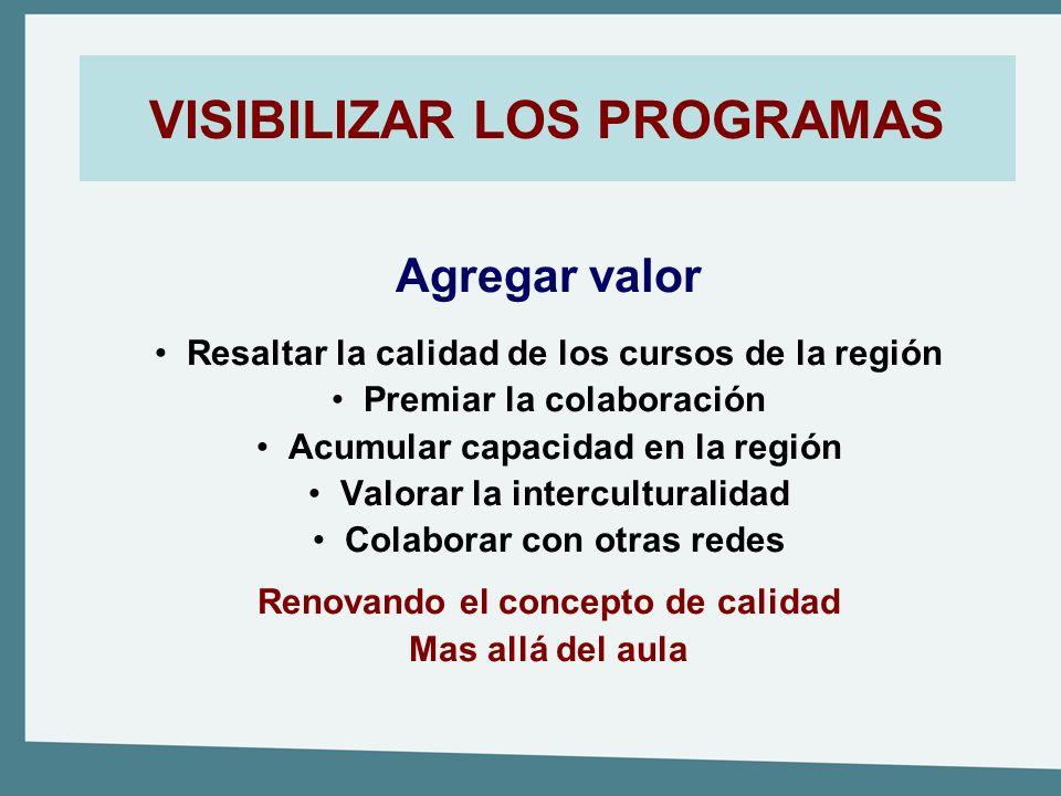 VISIBILIZAR LOS PROGRAMAS Agregar valor Resaltar la calidad de los cursos de la región Premiar la colaboración Acumular capacidad en la región Valorar