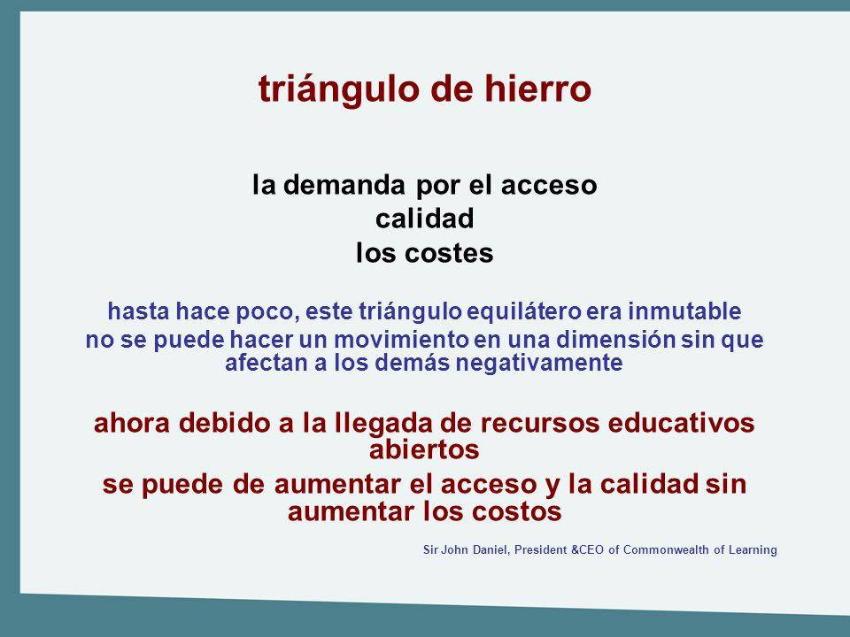 triángulo de hierro la demanda por el acceso calidad los costes hasta hace poco, este triángulo equilátero era inmutable no se puede hacer un movimien