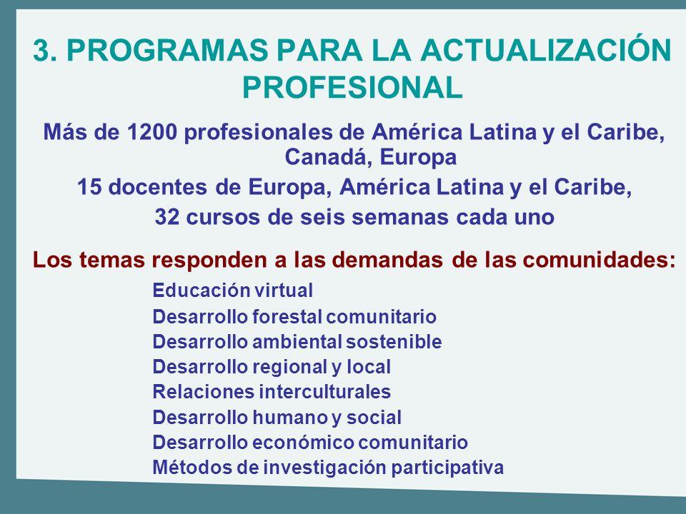 3. PROGRAMAS PARA LA ACTUALIZACIÓN PROFESIONAL Más de 1200 profesionales de América Latina y el Caribe, Canadá, Europa 15 docentes de Europa, América