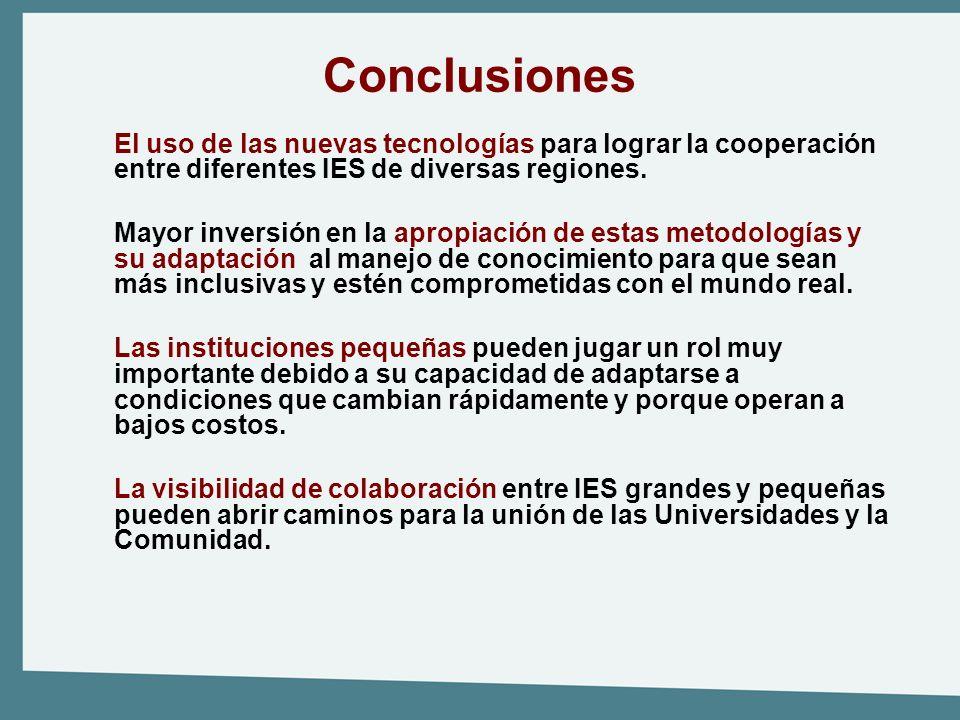 Conclusiones El uso de las nuevas tecnologías para lograr la cooperación entre diferentes IES de diversas regiones. Mayor inversión en la apropiación