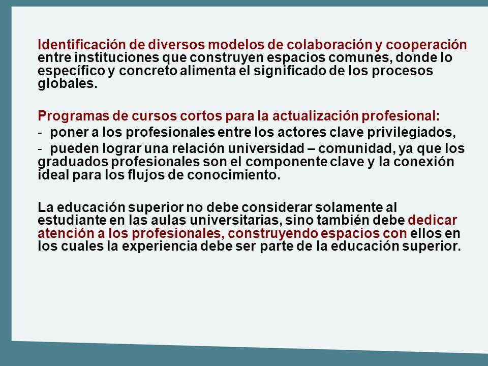 Identificación de diversos modelos de colaboración y cooperación entre instituciones que construyen espacios comunes, donde lo específico y concreto a