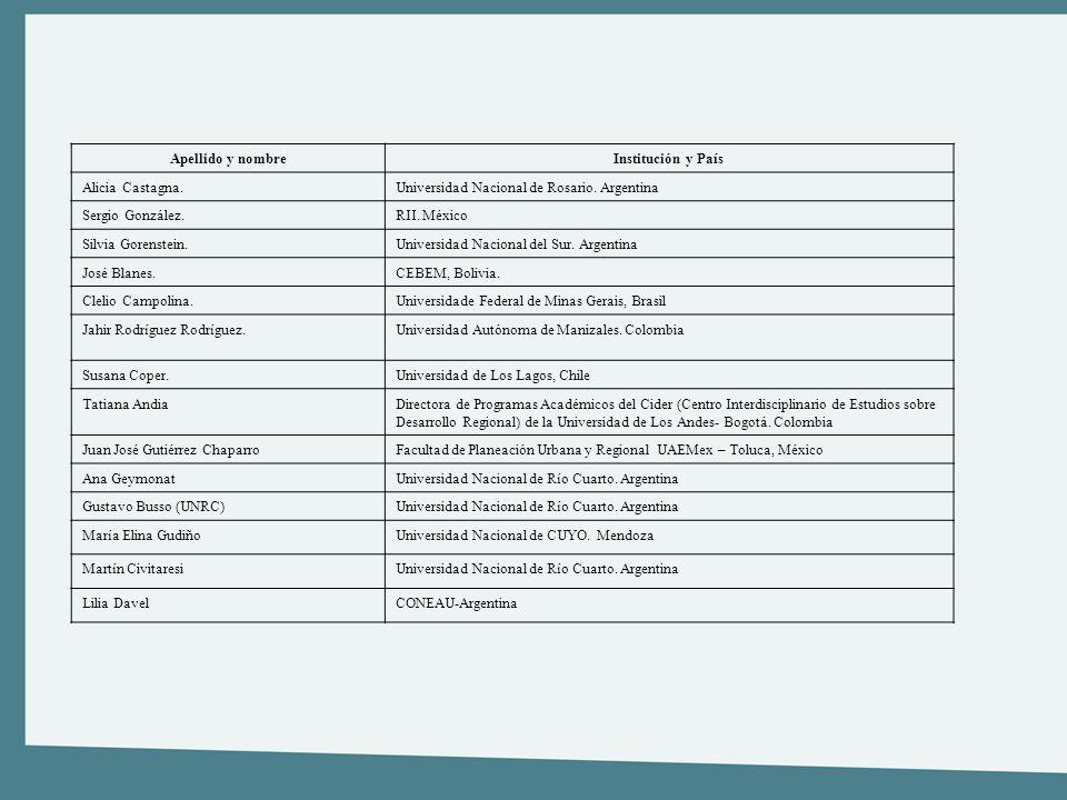 Apellido y nombreInstitución y País Alicia Castagna.Universidad Nacional de Rosario. Argentina Sergio González.RII. México Silvia Gorenstein.Universid