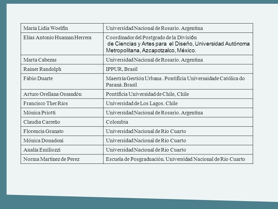 María Lidia WoelfinUniversidad Nacional de Rosario. Argentina Elías Antonio Huaman Herrera Coordinador del Postgrado de la Divisi ó n de Ciencias y Ar