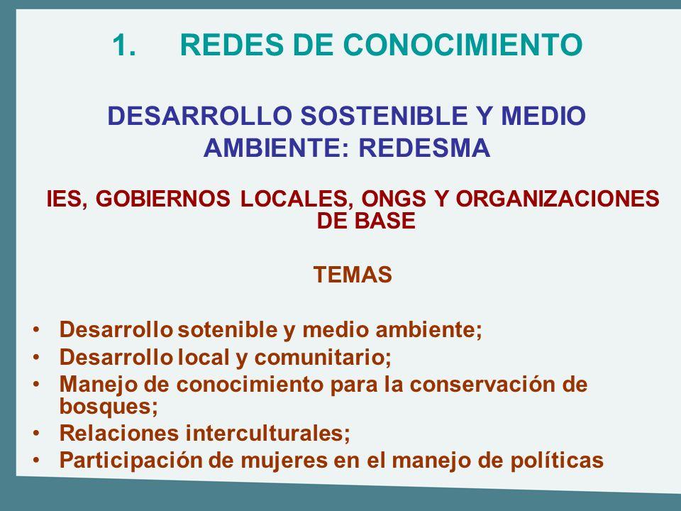 1.REDES DE CONOCIMIENTO DESARROLLO SOSTENIBLE Y MEDIO AMBIENTE: REDESMA IES, GOBIERNOS LOCALES, ONGS Y ORGANIZACIONES DE BASE TEMAS Desarrollo sotenib
