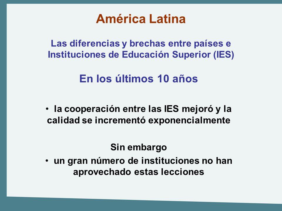 América Latina Las diferencias y brechas entre países e Instituciones de Educación Superior (IES) En los últimos 10 años la cooperación entre las IES
