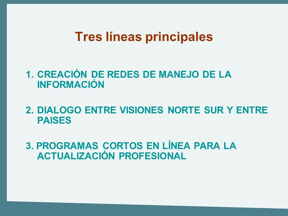 Tres líneas principales 1.CREACIÓN DE REDES DE MANEJO DE LA INFORMACIÓN 2.DIALOGO ENTRE VISIONES NORTE SUR Y ENTRE PAISES 3. PROGRAMAS CORTOS EN LÍNEA