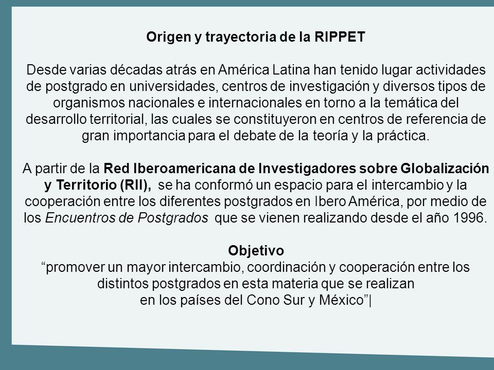 Origen y trayectoria de la RIPPET Desde varias décadas atrás en América Latina han tenido lugar actividades de postgrado en universidades, centros de