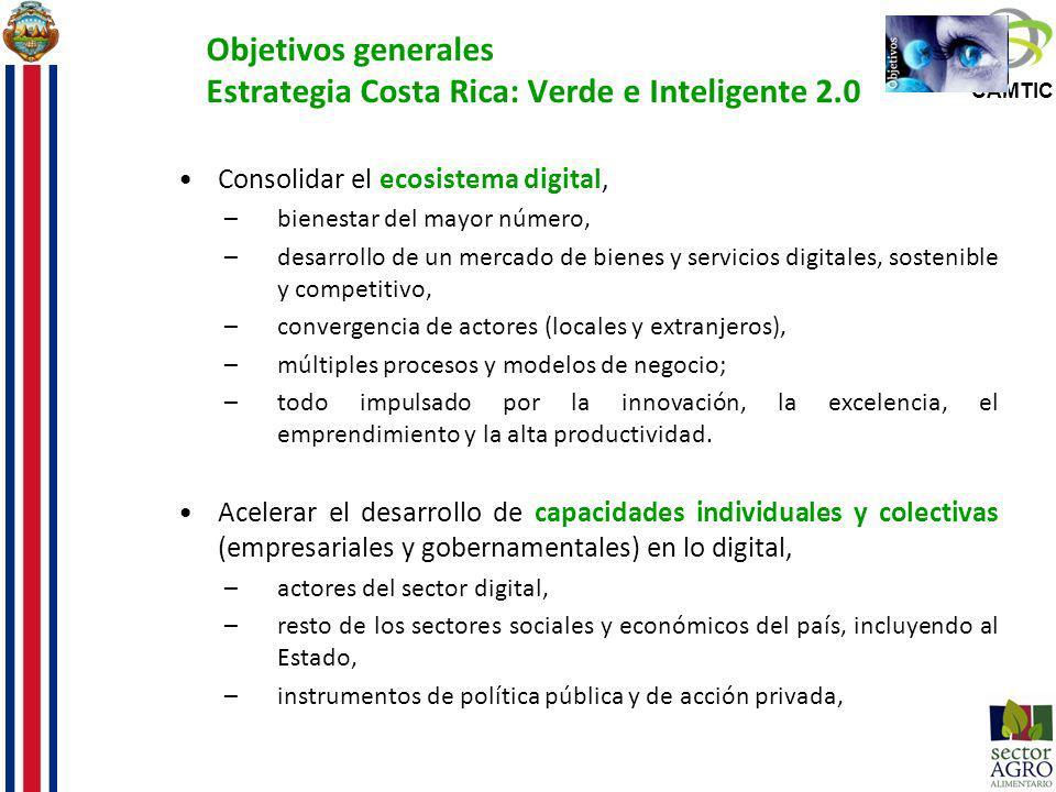 CAMTIC Objetivos generales Estrategia Costa Rica: Verde e Inteligente 2.0 Consolidar el ecosistema digital, –bienestar del mayor número, –desarrollo d