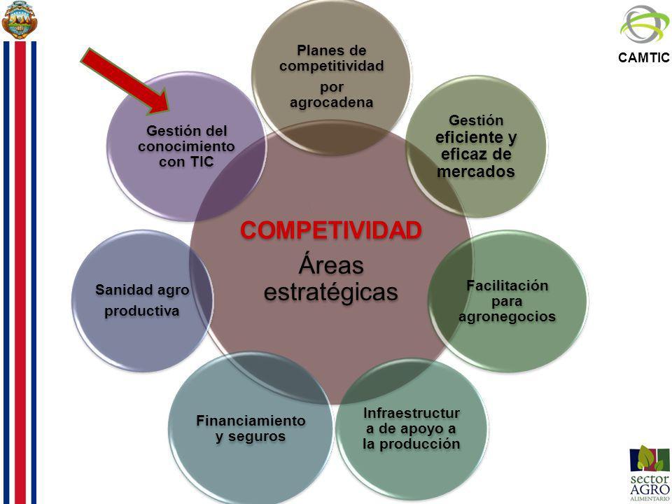 CAMTIC COMPETIVIDAD Áreas estratégicas Planes de competitividad por agrocadena Gestión eficiente y eficaz de mercados Facilitación para agronegocios I