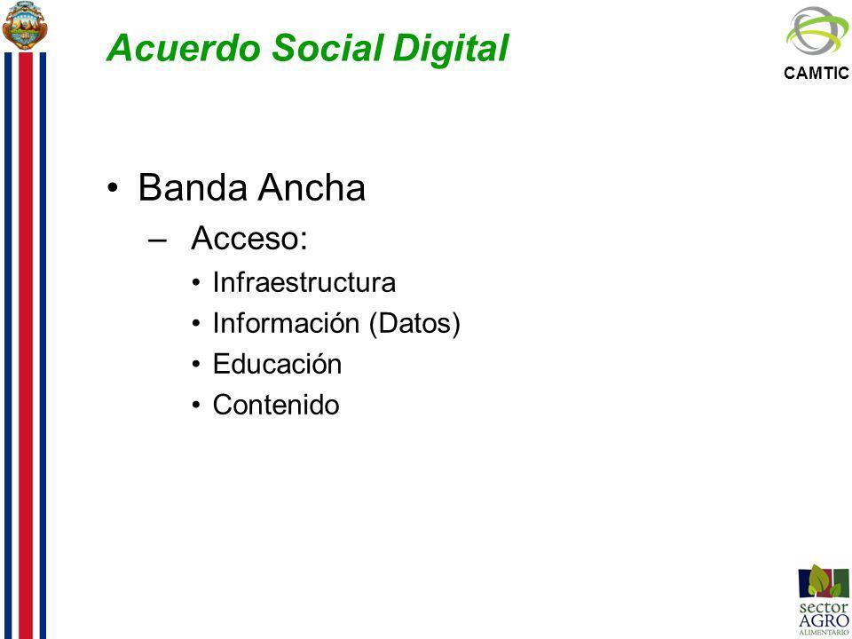 CAMTIC Acuerdo Social Digital Banda Ancha –Acceso: Infraestructura Información (Datos) Educación Contenido