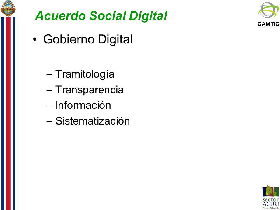 CAMTIC Acuerdo Social Digital Gobierno Digital –Tramitología –Transparencia –Información –Sistematización