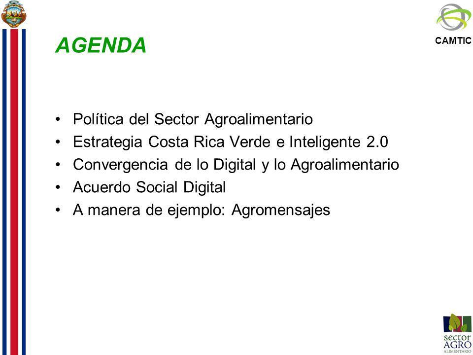 CAMTIC AGENDA Política del Sector Agroalimentario Estrategia Costa Rica Verde e Inteligente 2.0 Convergencia de lo Digital y lo Agroalimentario Acuerd