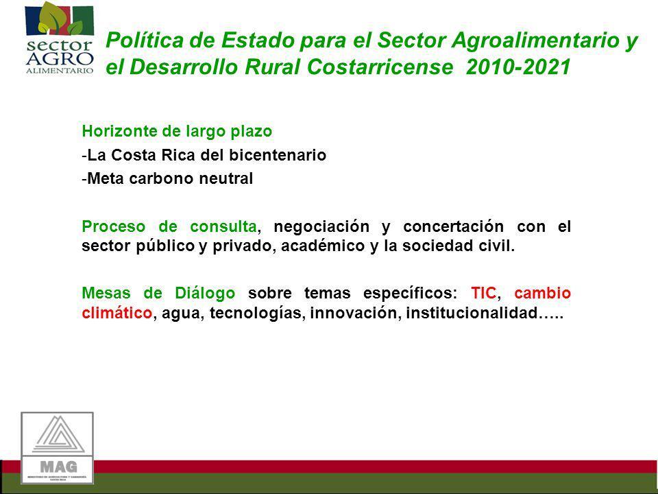 Política de Estado para el Sector Agroalimentario y el Desarrollo Rural Costarricense 2010-2021 Horizonte de largo plazo -La Costa Rica del bicentenar