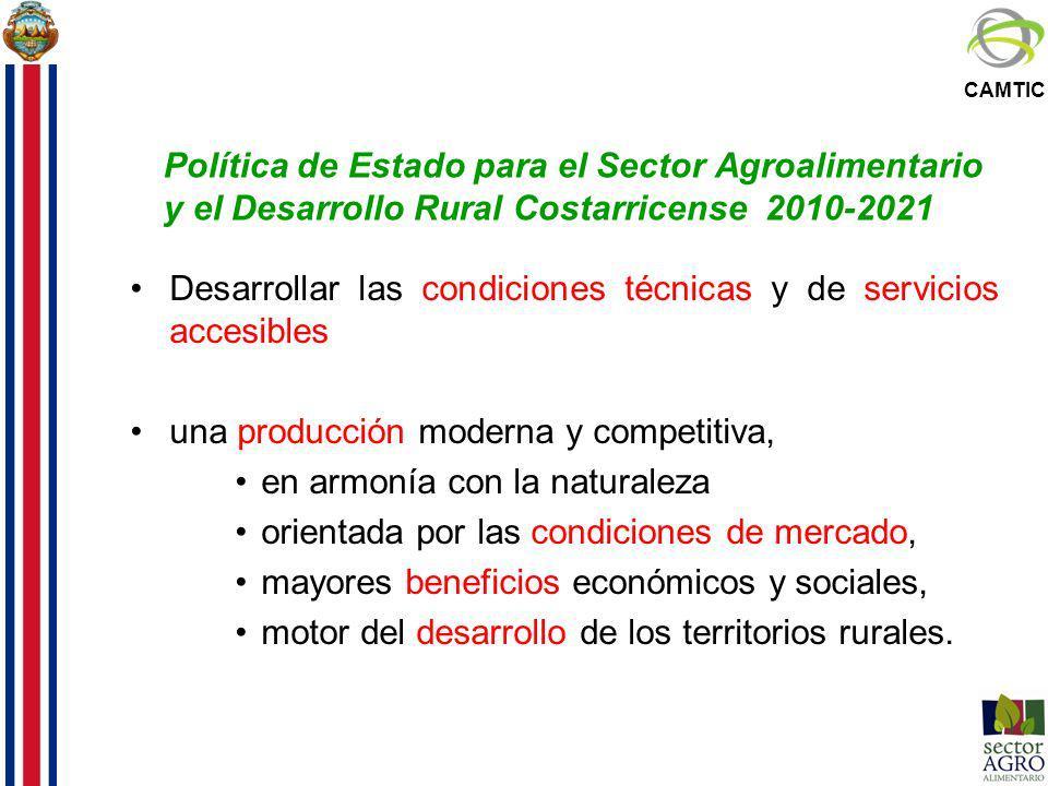 CAMTIC Política de Estado para el Sector Agroalimentario y el Desarrollo Rural Costarricense 2010-2021 Desarrollar las condiciones técnicas y de servi