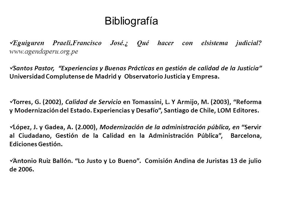 Eguiguren Praeli,Francisco José.¿ Qué hacer con elsistema judicial? www.agendaperu.org.pe Santos Pastor, Experiencias y Buenas Prácticas en gestión de
