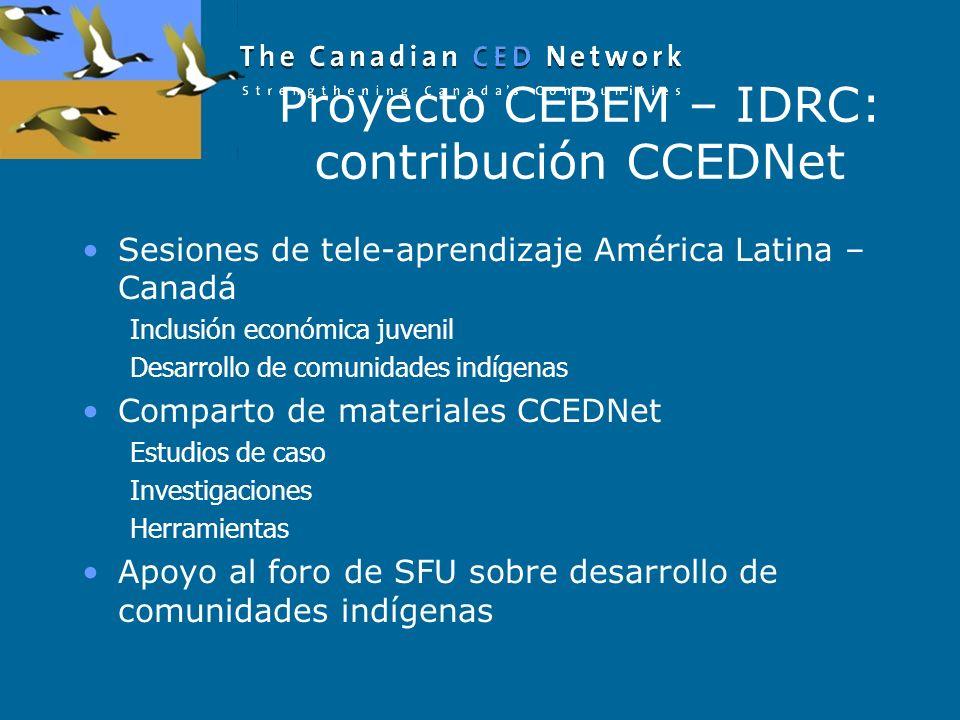 Proyecto CEBEM – IDRC: contribución CCEDNet Sesiones de tele-aprendizaje América Latina – Canadá Inclusión económica juvenil Desarrollo de comunidades indígenas Comparto de materiales CCEDNet Estudios de caso Investigaciones Herramientas Apoyo al foro de SFU sobre desarrollo de comunidades indígenas
