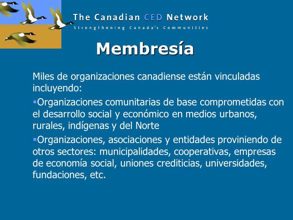 Membresía Membresía Miles de organizaciones canadiense están vinculadas incluyendo: Organizaciones comunitarias de base comprometidas con el desarrollo social y económico en medios urbanos, rurales, indígenas y del Norte Organizaciones, asociaciones y entidades proviniendo de otros sectores: municipalidades, cooperativas, empresas de economía social, uniones crediticias, universidades, fundaciones, etc.