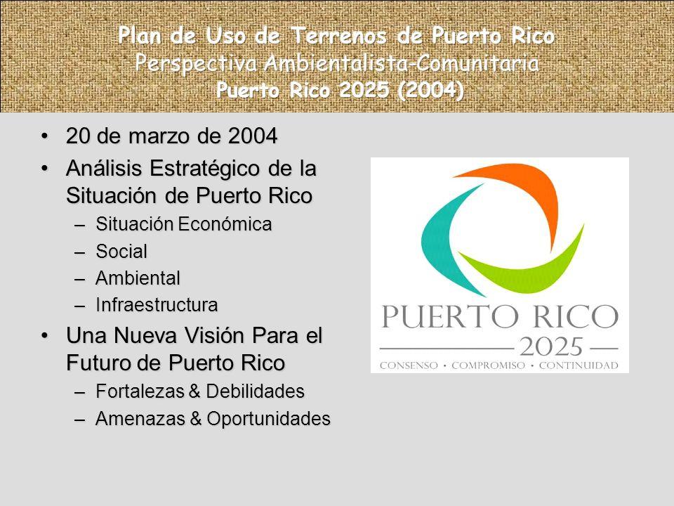 20 de marzo de 200420 de marzo de 2004 Análisis Estratégico de la Situación de Puerto RicoAnálisis Estratégico de la Situación de Puerto Rico –Situación Económica –Social –Ambiental –Infraestructura Una Nueva Visión Para el Futuro de Puerto RicoUna Nueva Visión Para el Futuro de Puerto Rico –Fortalezas & Debilidades –Amenazas & Oportunidades