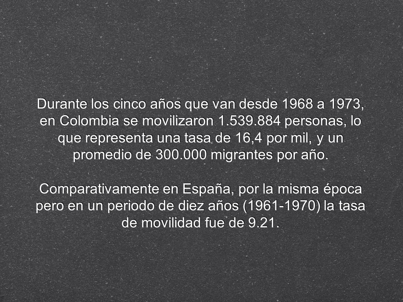 Durante los cinco años que van desde 1968 a 1973, en Colombia se movilizaron 1.539.884 personas, lo que representa una tasa de 16,4 por mil, y un prom