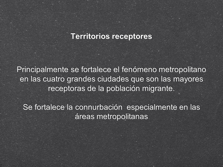 Territorios receptores Principalmente se fortalece el fenómeno metropolitano en las cuatro grandes ciudades que son las mayores receptoras de la pobla