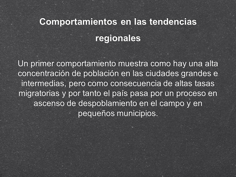 Comportamientos en las tendencias regionales Un primer comportamiento muestra como hay una alta concentración de población en las ciudades grandes e i