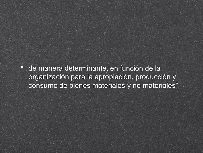 de manera determinante, en función de la organización para la apropiación, producción y consumo de bienes materiales y no materiales.