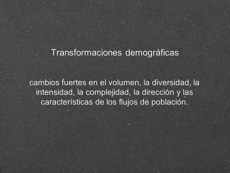 Transformaciones demográficas cambios fuertes en el volumen, la diversidad, la intensidad, la complejidad, la dirección y las características de los f
