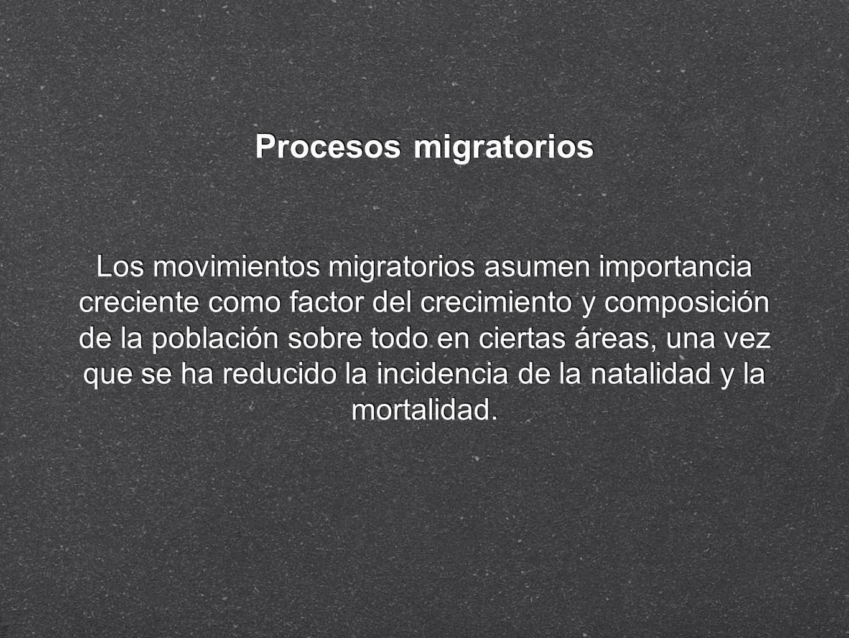 Procesos migratorios Los movimientos migratorios asumen importancia creciente como factor del crecimiento y composición de la población sobre todo en