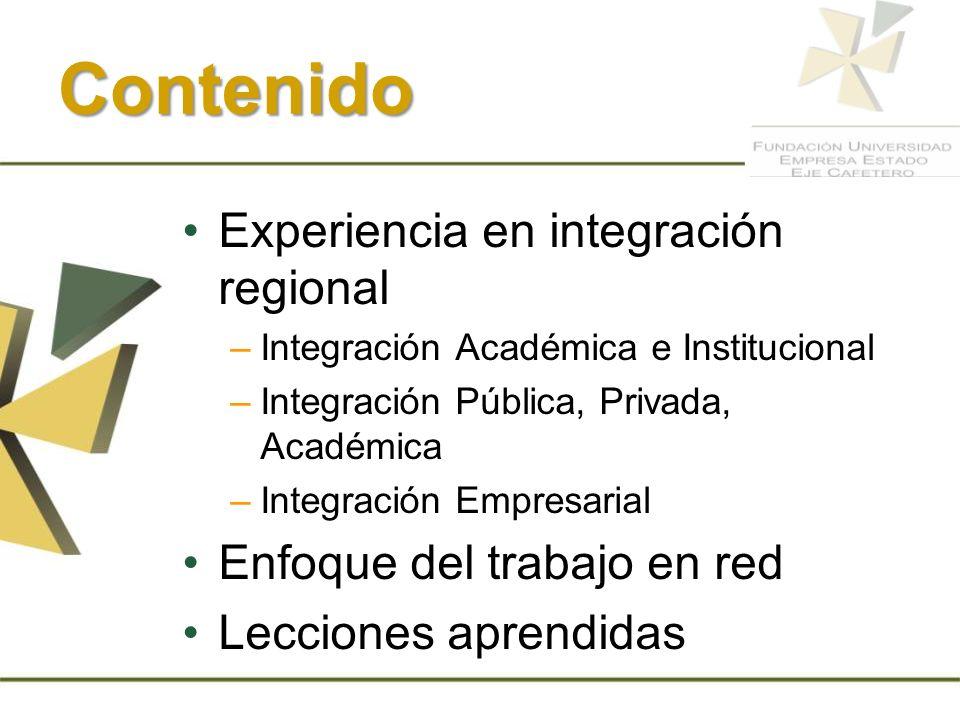 Contenido Experiencia en integración regional –Integración Académica e Institucional –Integración Pública, Privada, Académica –Integración Empresarial