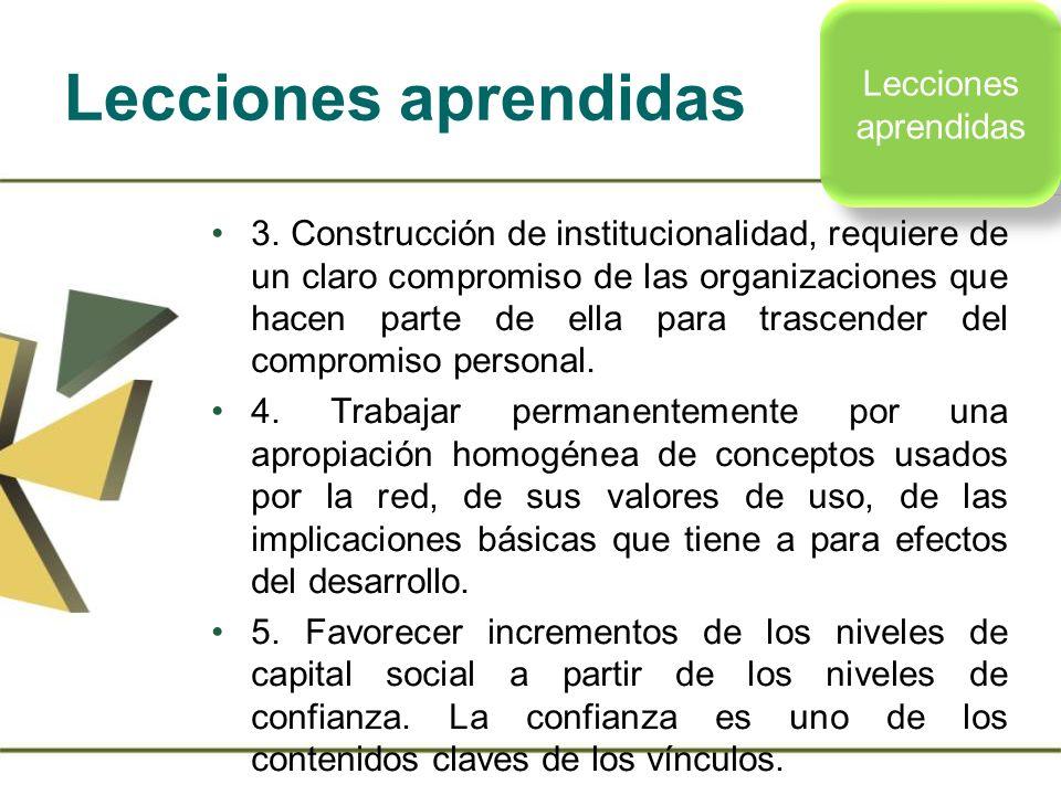 3. Construcción de institucionalidad, requiere de un claro compromiso de las organizaciones que hacen parte de ella para trascender del compromiso per