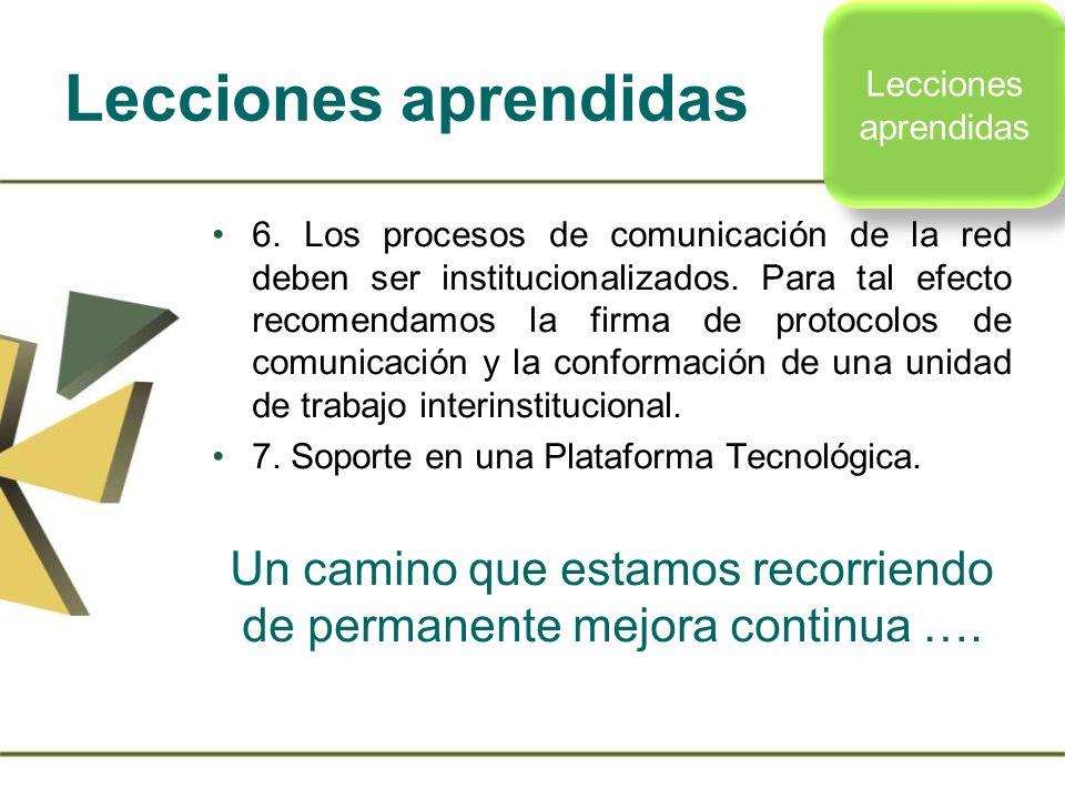 6. Los procesos de comunicación de la red deben ser institucionalizados. Para tal efecto recomendamos la firma de protocolos de comunicación y la conf