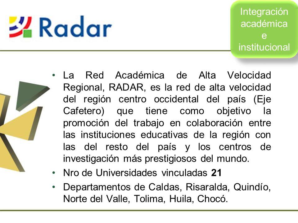 La Red Académica de Alta Velocidad Regional, RADAR, es la red de alta velocidad del región centro occidental del país (Eje Cafetero) que tiene como ob