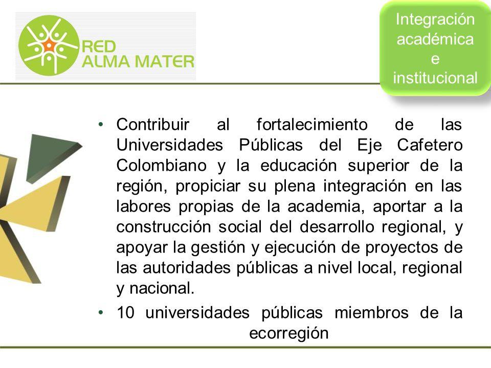 Contribuir al desarrollo de la Ecorregión Eje Cafetero a partir del trabajo, intersectorial, intergremial, interuniversitario y en red con los diversos actores locales y regionales, que posibilite la articulación de saberes y acciones orientadas al fortalecimiento de las comunidades y a la vinculación de la juventud Universitaria como actor reflexivo de desarrollo.
