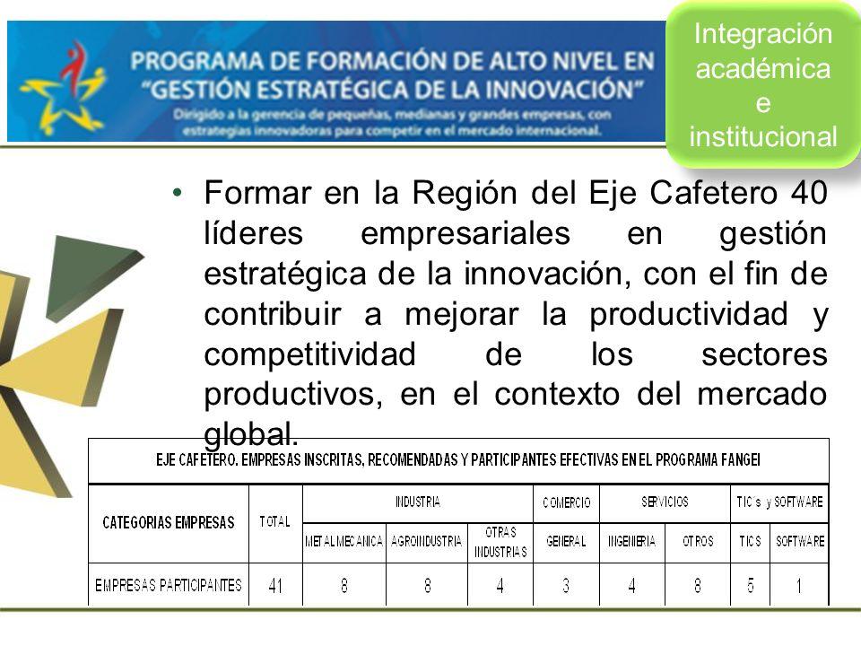 u Formar en la Región del Eje Cafetero 40 líderes empresariales en gestión estratégica de la innovación, con el fin de contribuir a mejorar la product