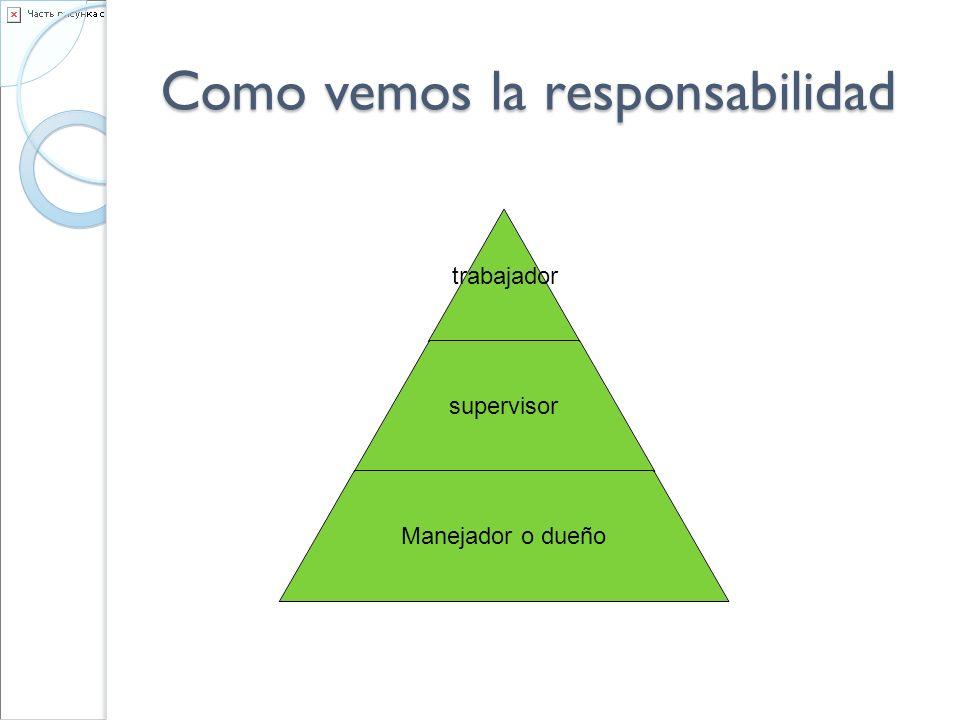 Como vemos la responsabilidad trabajador supervisor Manejador o dueño