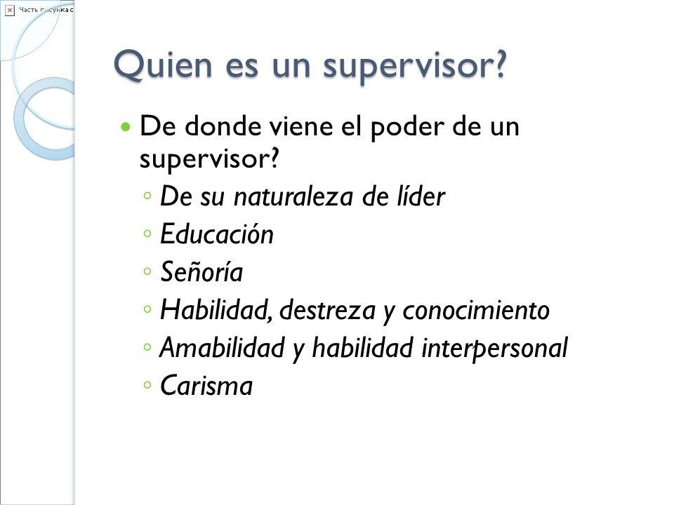 Quien es un supervisor? De donde viene el poder de un supervisor? De su naturaleza de líder Educación Señoría Habilidad, destreza y conocimiento Amabi