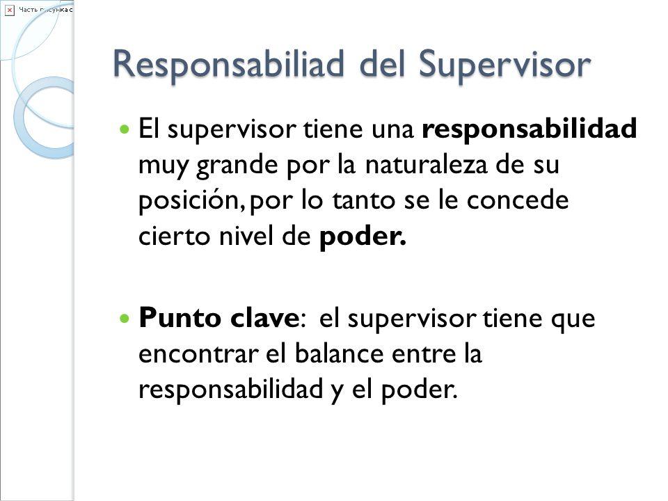 Responsabiliad del Supervisor El supervisor tiene una responsabilidad muy grande por la naturaleza de su posición, por lo tanto se le concede cierto n