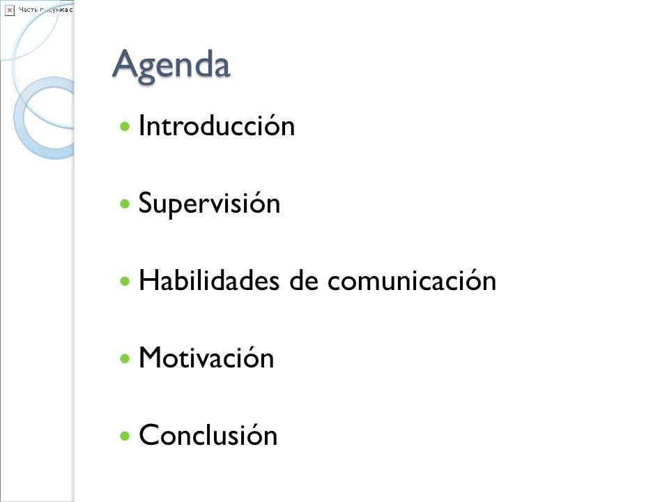 Agenda Introducción Supervisión Habilidades de comunicación Motivación Conclusión