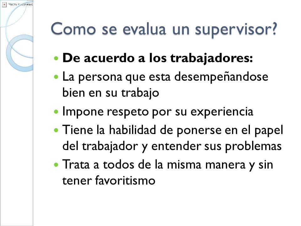 Como se evalua un supervisor? De acuerdo a los trabajadores: La persona que esta desempeñandose bien en su trabajo Impone respeto por su experiencia T