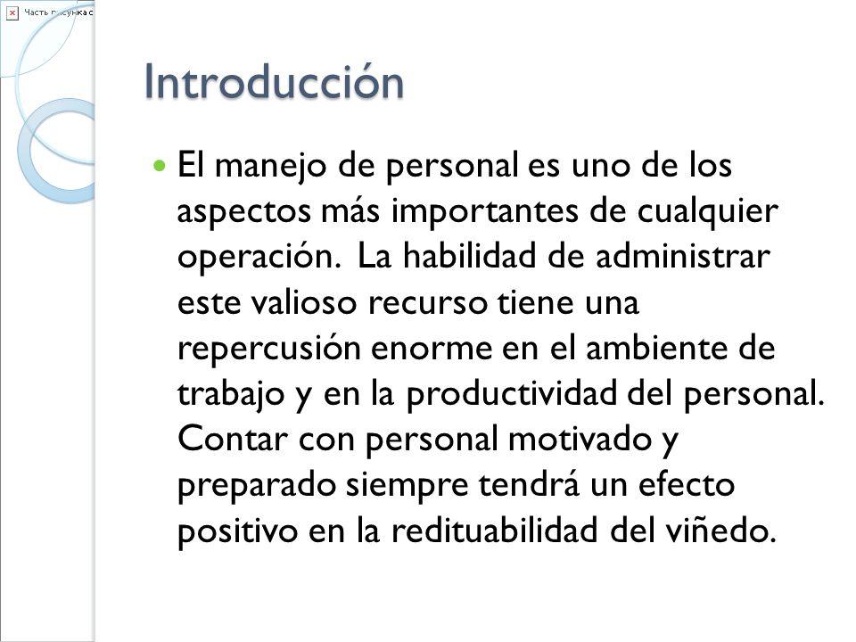 Introducción El manejo de personal es uno de los aspectos más importantes de cualquier operación. La habilidad de administrar este valioso recurso tie