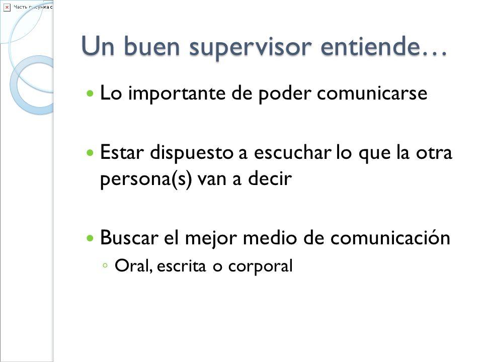 Un buen supervisor entiende… Lo importante de poder comunicarse Estar dispuesto a escuchar lo que la otra persona(s) van a decir Buscar el mejor medio